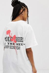 Crooked Tongues - Oversize-T-Shirt mit Logo und Blumenprint - Weiß - Farbe:Weiß