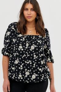 Simply be - Schwarz geblümte Bluse mit eckigem Ausschnitt - Mehrfarbig - Farbe:Mehrfarbig