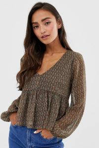 Pull&Bear - Bluse mit mehrfarbigem Paisleymuster - Braun - Farbe:Braun