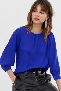 Warehouse - Blaue Bluse mit Ballonärmeln - Blau - Farbe:Blau