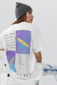 Crooked Tongues - Oversize-T-Shirt mit Weltraum-Print - Weiß - Farbe:Weiß