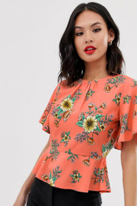 Wednesday's Girl - Bluse mit Schößchensaum und Sonnenblumenprint - Orange - Farbe:Orange