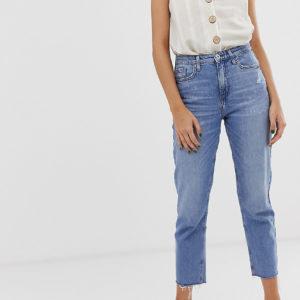 River Island – Gerade geschnittene Jeans in mittlerer Waschung – Blau