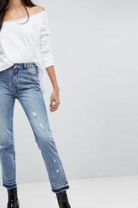Missguided Tall - Jeans mit Distressed-Saum - Blau - Farbe:Blau