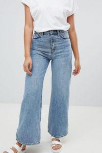 Weekday - Ace - Blaue Jeans aus Bio-Baumwolle mit weitem Bein - Blau - Farbe:Blau