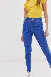 Pull&Bear - Blaue Skinny-Jeans mit hohem Bund - Blau - Farbe:Blau