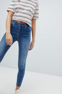 Pull&Bear - Enge Jeans aus recyceltem Material in Mittelblau - Blau - Farbe:Blau