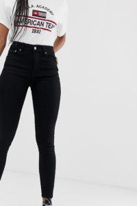 Pull&bear - Enge Jeans in Schwarz aus recycelten Fasern - Schwarz - Farbe:Schwarz