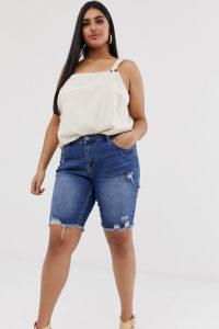 Simply Be - Lang geschnittene Denim-Shorts in Stone-Waschung mit Abnutzungseffekten - Blau - Farbe:Blau
