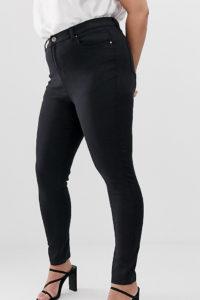 Simply Be - Lucy - Schwarze Skinny-Jeans mit hohem Bund - Schwarz - Farbe:Schwarz