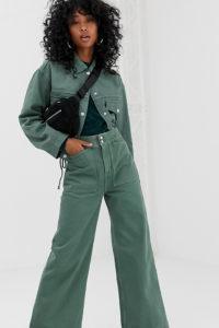 Weekday - Arbeiter-Jeans aus Bio-Baumwolle in Khaki - Grün - Farbe:Grün