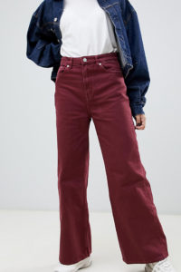 Weekday - Ace - Jeans mit weitem Bein - Rot - Farbe:Rot
