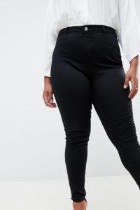Missguided Plus - Lawless - Enge Jeans mit hohem Bund - Schwarz - Farbe:Schwarz