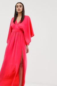 Flounce London - Kimono-Maxikleid mit hohem Schlitz und Wickeleffekt vorn - Orange - Farbe:Orange