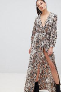 Missguided Tall - Exclusive Tall - Maxi-Wickelkleid mit Seitenschlitzen und Schlangenhautmuster - Braun - Farbe:Braun