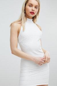 Miss Selfridge - Bandagen-Kleid mit Neckholder - Weiß - Farbe:Weiß