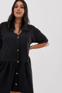 Missguided Plus - Schwarzes Hängerkleid mit Knopfdetail - Schwarz - Farbe:Schwarz