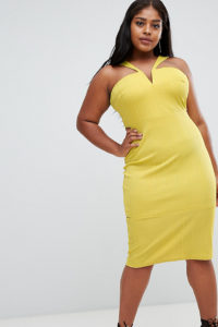 ASOS CURVE - Figurbetontes Bandage-Midikleid mit Zierausschnitt - Gelb - Farbe:Gelb
