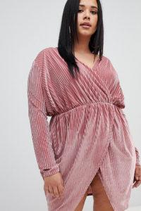 Missguided Plus - Geripptes rosa Minikleid aus Samt zum Wickeln - Rosa - Farbe:Rosa