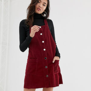 River Island - Cord-Kleid in Burgunder - Rot - Farbe:Rot