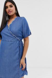 Simply Be Wickel-Jeanskleid in Blau mit Wellensaum - Blau - Farbe:Blau