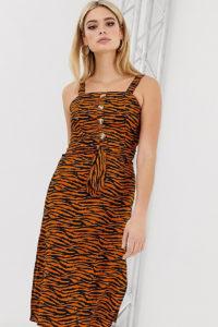 Missguided Tall - Midikleid mit Carré-Ausschnitt und Tigerprint - Mehrfarbig - Farbe:Mehrfarbig