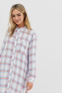 Wednesday's Girl - Hemdblusenkleid mit Vintage-Karomuster - Weiß - Farbe:Weiß