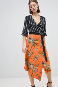 Warehouse - Barbican Collection - Wickelrock mit Singvogel-Print - Orange - Farbe:Orange