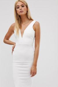 Missguided Tall - Enganliegendes Midikleid mit tiefem V-Ausschnitt in Weiß - Weiß - Farbe:Weiß
