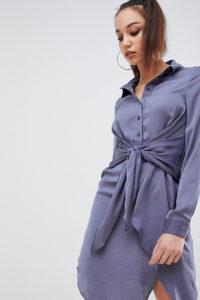 Missguided Tall - Blaues Mini-Hemdkleid mit Bindegürtel - Blau - Farbe:Blau
