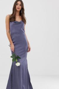 Missguided Tall - Blaues Satin-Maxikleid mit Wasserfallausschnitt und Schleppe - Grau - Farbe:Grau