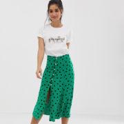 Miss Selfridge Petite - Mit Punkten bedruckter Midirock - Grün - Farbe:Grün